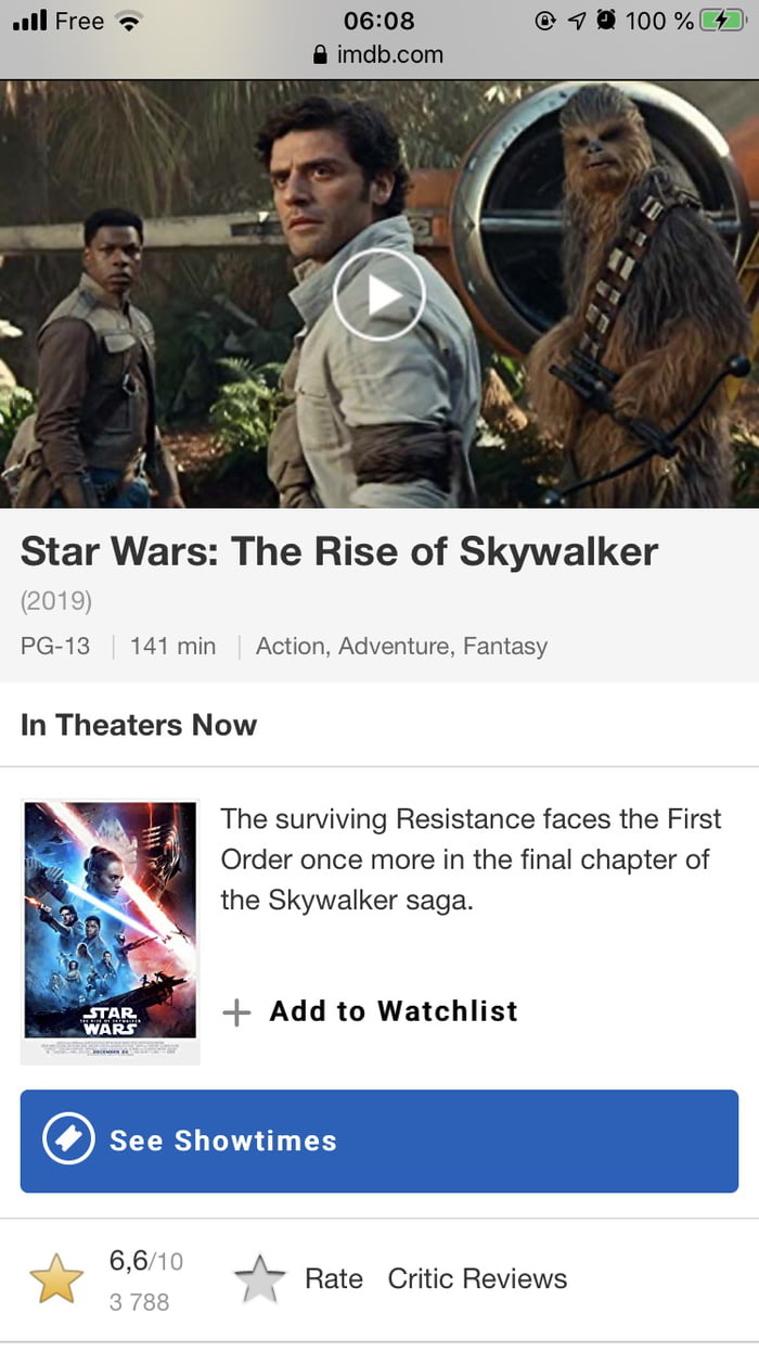 The Last Star Wars Took 4 4 On Imdb Before Disney Paid Them Off To Delete The Score 9gag
